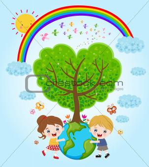 children earth rainbow