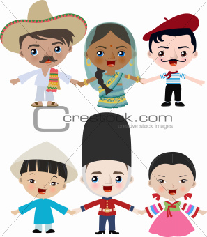 Multicultural children holding hands