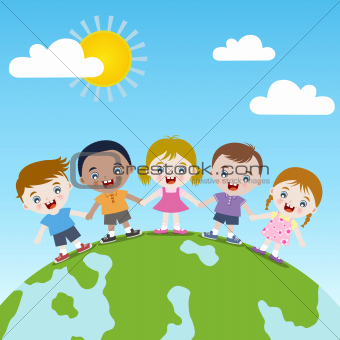 Children holding hand vector