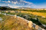 Ruins of Ancient Town of Salona and Distant Mountains near Split