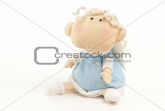 handmade toy cute little angel boy isolated