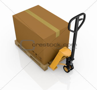 pallet truck and carton
