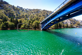 National Park Krka and Blue Bridge over the River near Town of S