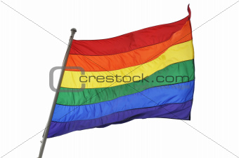 Rainbow flag on white background
