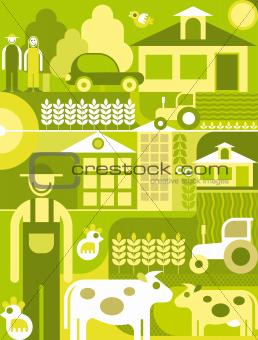 Village landscape vector illustration