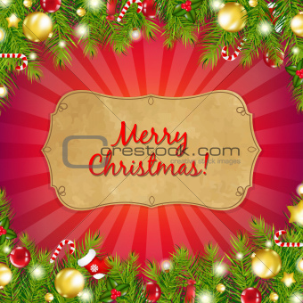Red Christmas Background With Sunburst With Fir Tree