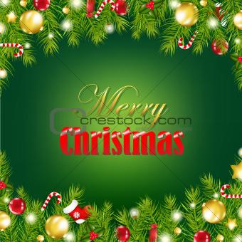Retro Card With Christmas Garland