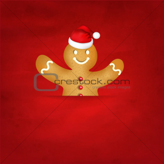 Gingerbread Man With Santa Hat And Old Red Background