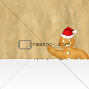 Old Ripped Paper With Gingerbread Man