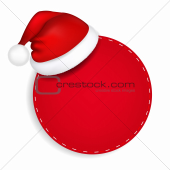 Red Speech Bubble With Santa Hat