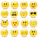 Yellow Smiley Balls With Positive And Negative Emotions