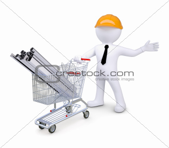 White human in a helmet standing beside carts with products made ??of metal