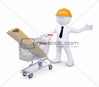 White human in a hard hat standing near the cart woodwork