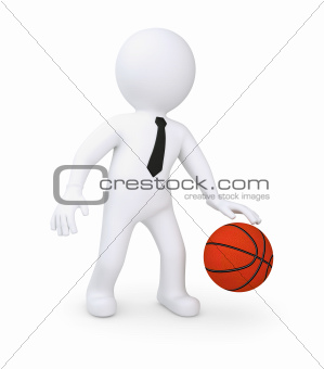 White human playing basketball