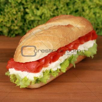 Fresh sandwich with smoked salmon