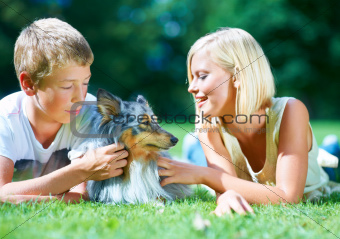 Spending some time with their pet pooch