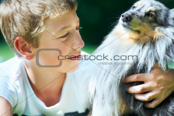 The bond between boy and dog