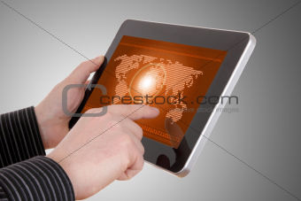 Digital world concept graphic, including digital map on tablet , on businessman hands