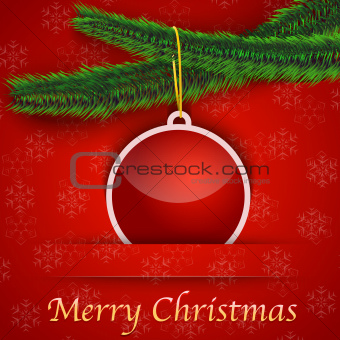 Holiday gift card with Christmas tree and a bauble hanging