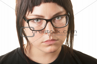 Serious Woman with Nose Ring