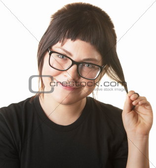 Smiling Female Playing with Hair