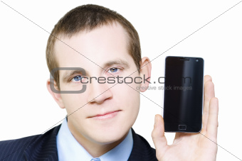 Businessman With Blank Screen Smartphone In Hand