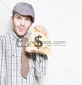 Smiling Businessman Holding Dollar Sign Money Bag