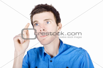 Isolated Businessman Pressing Blank Touch Screen