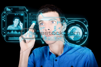 Young Man Using Futuristic Virtual Interface