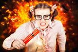 Crazy Business Worker Under Explosive Stress