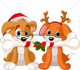 Two Christmas dogs