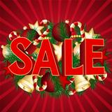 Christmas sale poster with green spruce branch.