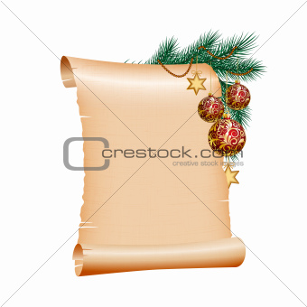 Old blank scroll paper with red christmas balls on green spruce branch.