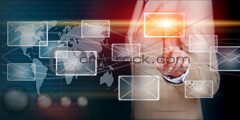 hand  touching email  with finger