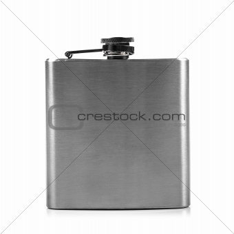 metal hip flask isolated on white