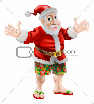 Cartoon beach Santa