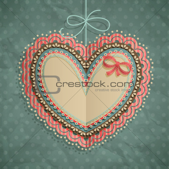 Valentine`s Day vintage card with heart