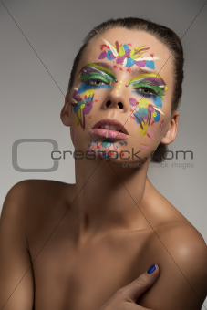 beauty portrait of girl with creative make-up and sensal express