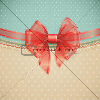 Red transparent bow on vintage background