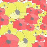 Seamless wallpaper with cartoon style flowers