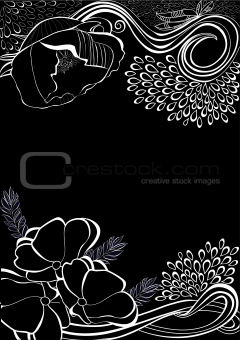 Romantic background with stylized flowers