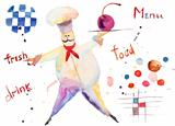 Watercolor illustration of chef
