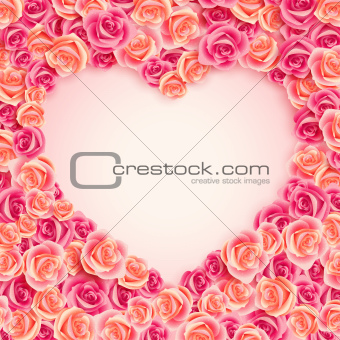 Valentine`s Day card on pink roses