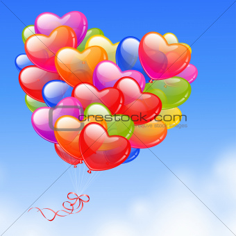 Colorful Heart Shaped Balloons in the sky