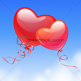 Heart Shaped Balloons in the sky.