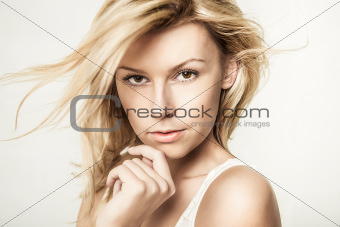 Fashion portrait of young beautiful woman