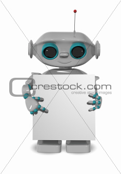 robot with a poster