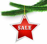 Christmas sale label hanging on tree
