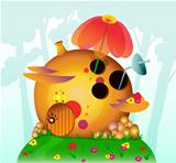 Fairy strange house with flowers. Vector illustration.