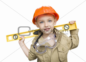 Happy Adorable Child Boy with Level, Hard Hat and Goggles Playing Handyman Isolated on a White Background.